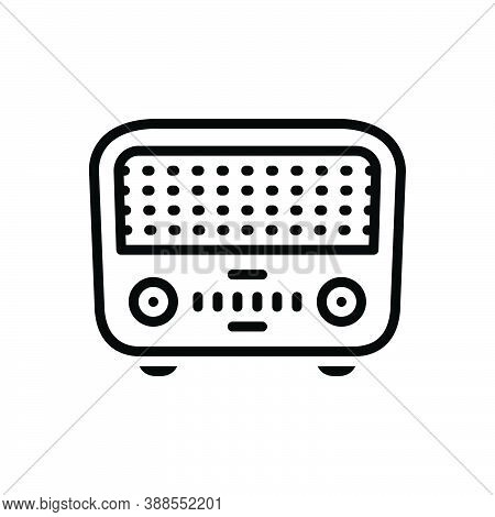 Black Line Icon For Former First Sooner Primarily Radio Electrical Retro Wireless Antenna Previously