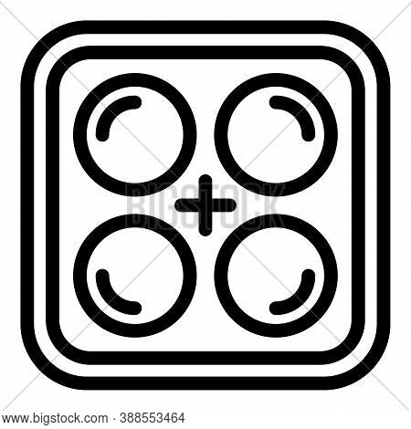 Silicone Ice Tray Icon. Outline Silicone Ice Tray Vector Icon For Web Design Isolated On White Backg