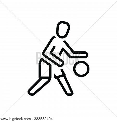 Black Line Icon For Player Sportsman Gamester Athlete Footballer Competitor Football Play Ball