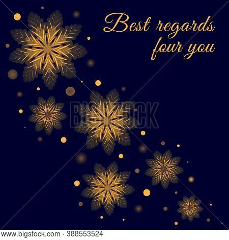 Greeting Card Design With Glowing Golden Snowflakes On Dark Blue Background. Vector Winter Holidays