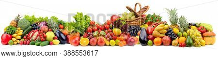 Big collection bright and fresh vegetables and fruits isolated on white background.