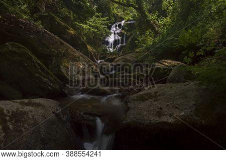 Waterfall Mystique Of A Stream Near Philotheou Monastery.