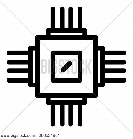 Processor Hardware Icon. Outline Processor Hardware Vector Icon For Web Design Isolated On White Bac