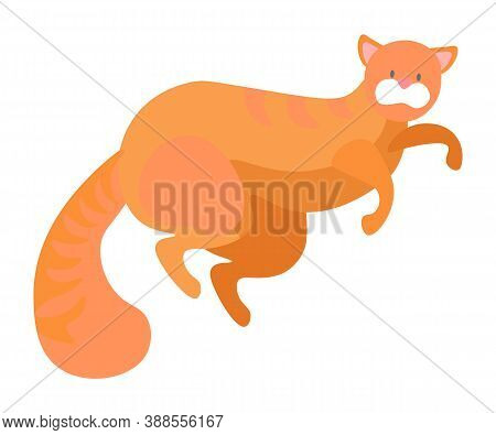 Cat Lying On Floor Isolated Cute Pet Animal With Long Tail And Whiskers, Playful Curious Kitten. Vec