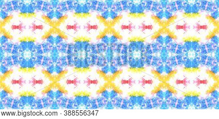 Seamless Aquarelle Pattern. Aquarelle Tie Dye Abstract Texture. Colorful Summer Background. Handmade