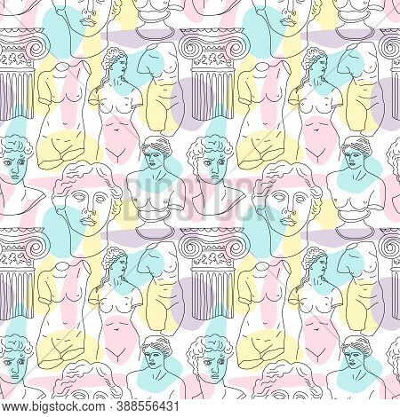 Ancient Greece And Rome Tradition And Culture Vector Seamless Pattern. The Linear Trend Of The Ancie