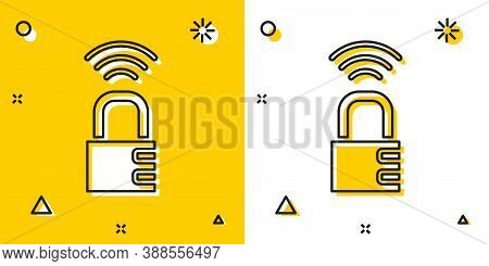Black Smart Safe Combination Lock Icon Isolated On Yellow And White Background. Combination Padlock.