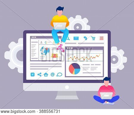 Web Analytics Information And Development Website Statistic. Web Cms Analysis Measure, Product Testi