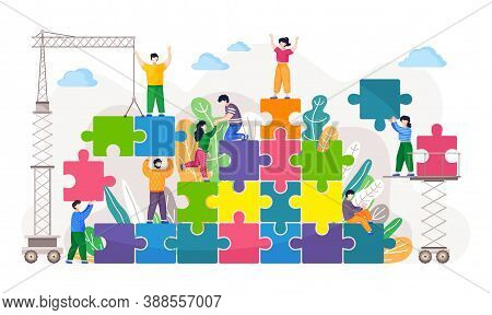 Business Concept Of Coworking. Coworkers Assembling Jigsaw Puzzle. Team Building Metaphor. People Co
