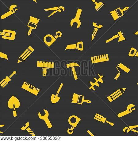 Hand Tools, Construction, Seamless Pattern, Color, Gray, Yellow. Yellow Icons On A Gray Field. Color