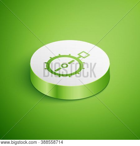 Isometric Trap Hunting Icon Isolated On Green Background. White Circle Button. Vector