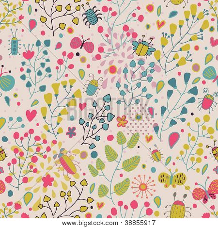 Vintage floral seamless pattern in cartoon style and pastel colors