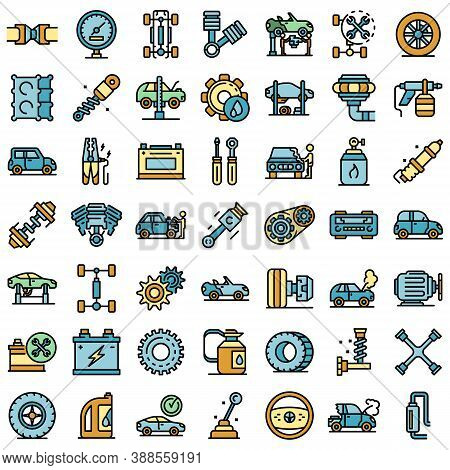 Car Mechanic Icons Set. Outline Set Of Car Mechanic Vector Icons Thin Line Color Flat On White