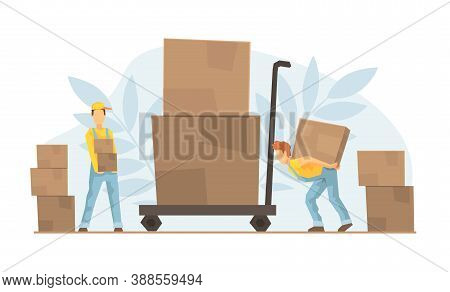 Tiny Warehouse Workers Loading Huge Boxes On Cart, Delivery Service, E-commerce Concept Vector Illus