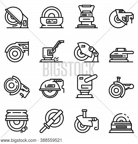Grinding Machine Icons Set. Outline Set Of Grinding Machine Vector Icons For Web Design Isolated On