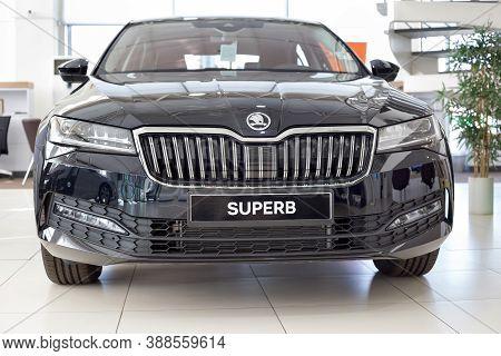 Russia, Izhevsk - September 25, 2020: New Car Business Class Superb In The Skoda Showroom. Front Vie