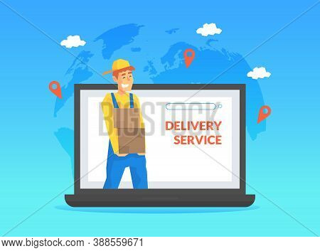 Male Courier Delivering Parcel Box Through Computer Screen, Online Delivery Service, E-commerce Conc