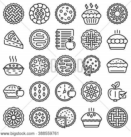 Apple Pie Icons Set. Outline Set Of Apple Pie Vector Icons For Web Design Isolated On White Backgrou