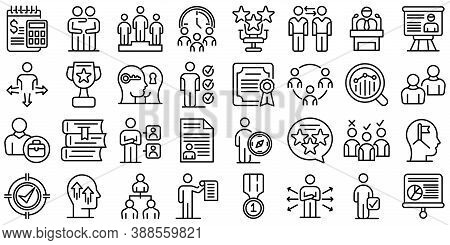 Mentor Icons Set. Outline Set Of Mentor Vector Icons For Web Design Isolated On White Background