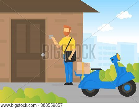 Male Courier Character Delivering Parcel To Customer At Home, Delivery Service, E-commerce Concept V