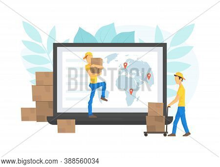 Male Workers Delivering Parcel Boxes Through Computer Screen, Worldwide Delivery Service, E-commerce