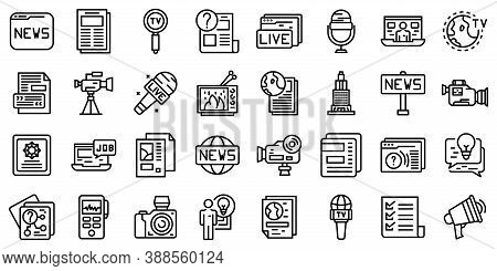 Reportage Icons Set. Outline Set Of Reportage Vector Icons For Web Design Isolated On White Backgrou