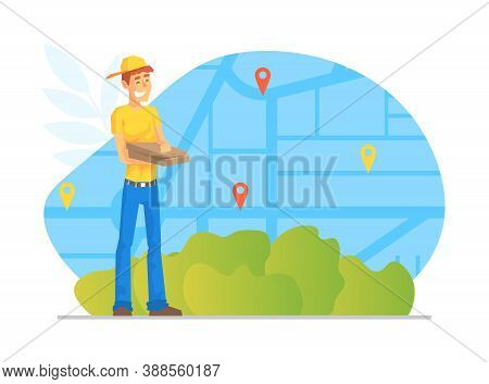 Male Courier Delivering Parcel Boxes, Worldwide Delivery Service, E-commerce Concept Vector Illustra