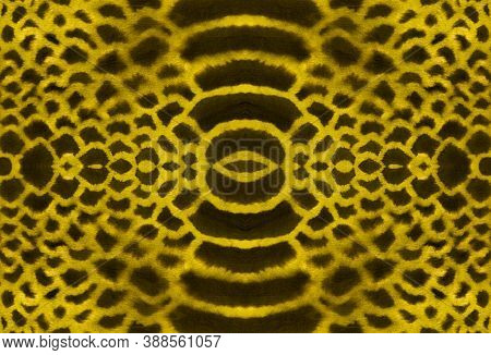 Seamless Cobra Pattern. Serpent Leather Animal Print. Exotic Fashion Background. Yellow, Brown And G