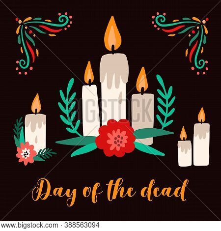 Day Of The Dead Traditional Holiday Card Decorated With Flowers And Burning Candles. Flat Vector Car