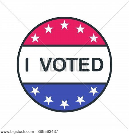 Voted Outline Icon. Color Vector Item From Set, Dedicated To The Presidential Elections In The Usa O