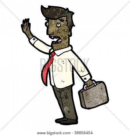 cartoon businessman frantically waving