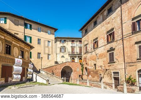 San Miniato,italy - September 6,2020 - In The Streets Of Town San Miniato.san Miniato Sits At An His