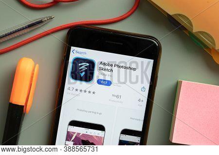 New York, Usa - 29 September 2020: Adobe Photoshop Sketch Mobile App Logo On Phone Screen Close Up,