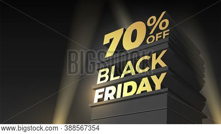 Vector Template For Sale And Discount Black Friday With Letters, Building And Spotlight On Night Sky