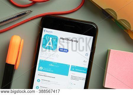New York, Usa - 29 September 2020: Hamstudy.org Hamstudy Mobile App Logo On Phone Screen Close Up, I