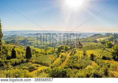 View From Town Of San Gimignano To Valley - Italy