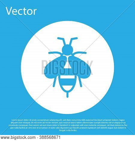Blue Bee Icon Isolated On Blue Background. Sweet Natural Food. Honeybee Or Apis With Wings Symbol. F