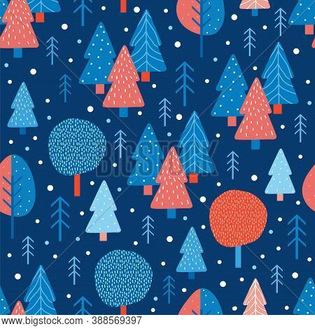 Merry Christmas And Happy New Year Seamless Pattern In Scandinavian Style. Vector Trendy Abstract Ba