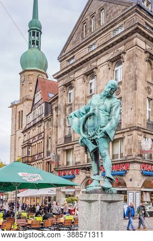 Dortmund, North Rhine Westphalia, Germany - October 18, 2018: Alten Markt In The Old City Center In