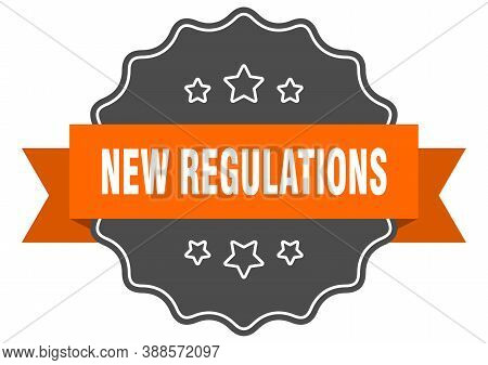 New Regulations Label. New Regulations Isolated Seal. Sticker. Sign