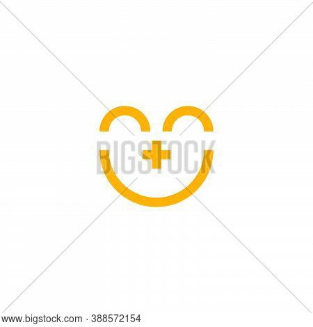Logo Of A Face With Curved Lines That Form The Eyes And A Smile And A Plus Sign For A Nose
