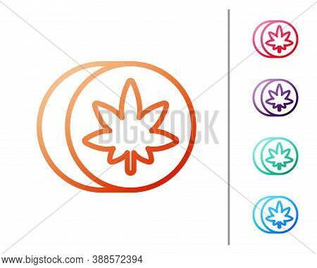 Red Line Herbal Ecstasy Tablets Icon Isolated On White Background. Set Color Icons. Vector Illustrat