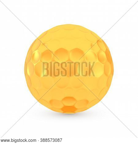 Golden Golf Award Concept, Shiny Photo Realistic Metallic Ball, 3d Render With Soft Shadows And Refl