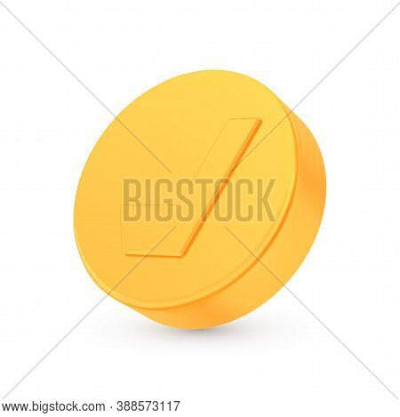 Golden Hockey Award Concept, Shiny Photo Realistic Metallic Puck, 3d Render With Soft Shadows And Re