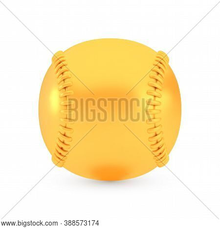 Golden Baseball Award Concept, Shiny Photo Realistic Metallic Ball, 3d Render With Soft Shadows And