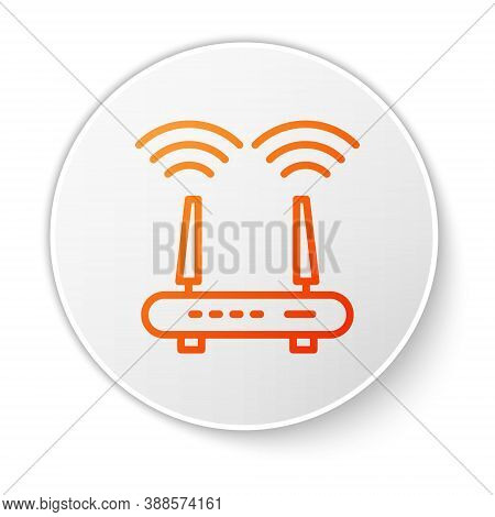 Orange Line Router And Wi-fi Signal Icon Isolated On White Background. Wireless Ethernet Modem Route