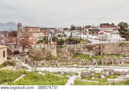 Ancient Corinthe, Greece - February 17, 2016: Overview Of The Little Village And Park Ancient Corint