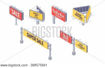 Isometric Billboard Set With Canvas For Outdoor Advertising. Billing Banner With Lamps For Ooh.