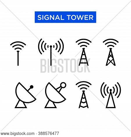 Icon Set Of Signal Tower. Suitable For Design Elements Of Telecom Companies, Telephony Transmitting