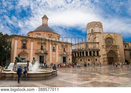 Valencia, Spain -  07/24/2019: Basílica De La Virgen De Los Desamparados And Valencia Cathedral. La
